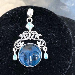 Jewelry - Sterling Silver Blue Quartz Face Pendant